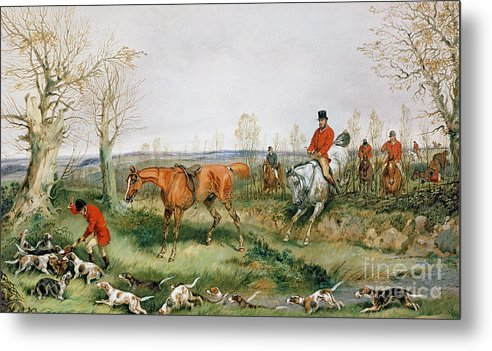 Hound; Fox; Hunt; Horse; Hunters Metal Print featuring the painting Hunting Scene by Henry Thomas Alken