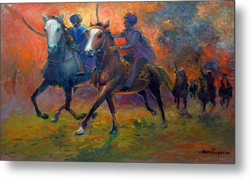 Warrior Metal Print featuring the painting Men In Defence by Prosper Akeni