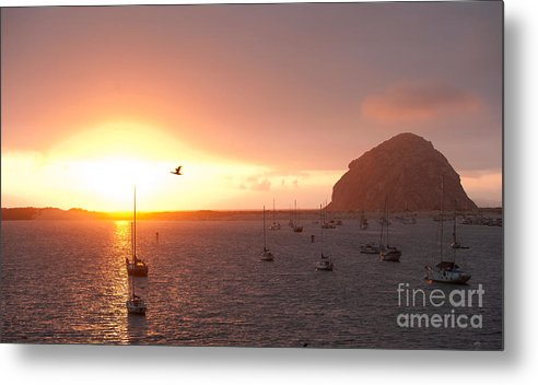Morro Bay Ca Photographs Metal Print featuring the photograph Morro Bay Rock At Sunset by Artist and Photographer Laura Wrede