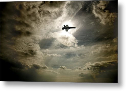 Light Metal Print featuring the photograph Plane In Flight by David Wile
