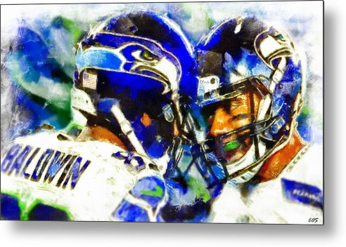 Seattle Seahawk Football Players Metal Print featuring the digital art Seahawk Stars by Carrie OBrien Sibley