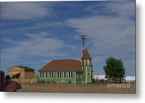 Shaniko Metal Print featuring the photograph Shaniko School - 1901 To 1946 by Charles Robinson