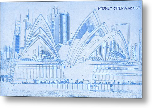 Sydney opera house blueprint drawing metal print by motionage designs sydney opera house blueprint drawing metal print featuring the digital art sydney opera house malvernweather Image collections