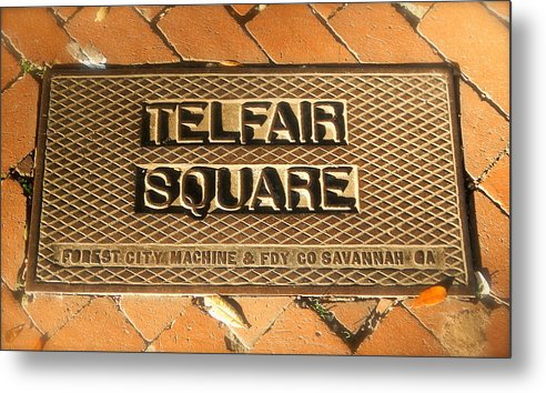 Sign Metal Print featuring the photograph Telfair Square In Savannah by Terry Cobb