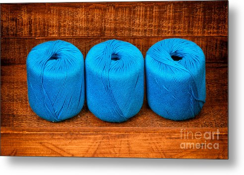 Knitting Metal Print featuring the photograph Three Skeins Of Knitting Yarn by Les Palenik