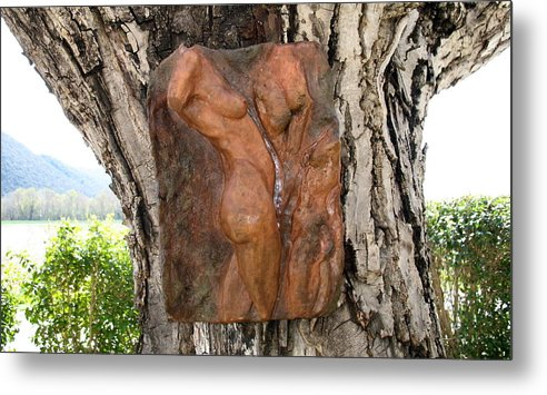 Nude Woman Torso Sculpture Metal Print featuring the relief Woman Torso Relief by Flow Fitzgerald