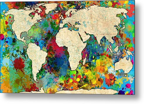 Decorative Metal Print featuring the painting World Map Colorful by Gary Grayson