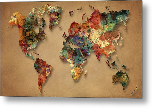 World Map Metal Print featuring the painting World Map Watercolor Painting 1 by Georgeta Blanaru