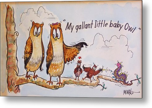 Owls Metal Print featuring the painting Baby Owls One by Aileen Markowski