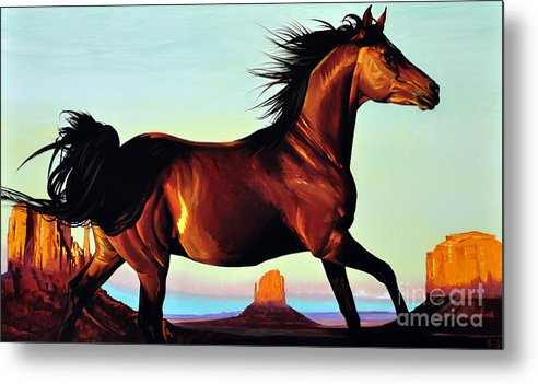 Monument Valley Metal Print featuring the painting Freedom by Michael Stoyanov