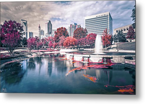 Park Metal Print featuring the photograph Charlotte North Carolina Cityscape During Autumn Season by Alex Grichenko