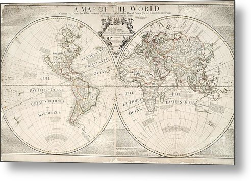 Map Metal Print featuring the painting A Map Of The World by John Senex