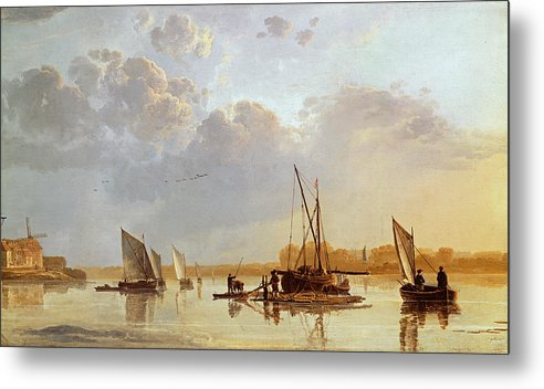 Boats On A River Metal Print featuring the painting Boats On A River by Aelbert Cuyp