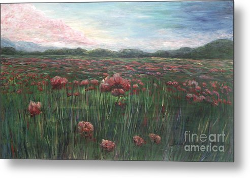 France Metal Print featuring the painting French Poppies by Nadine Rippelmeyer