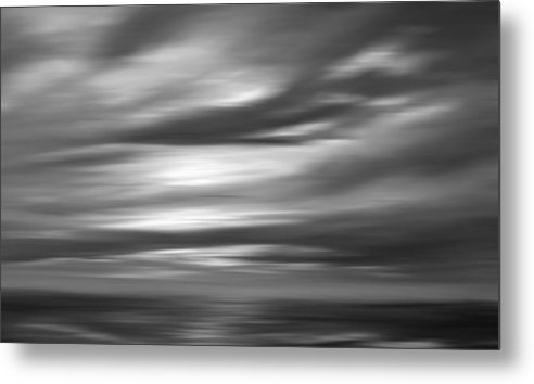 Abstract Seascape Metal Print featuring the painting Gulf Sunset In Black And White by Leonard Frederick