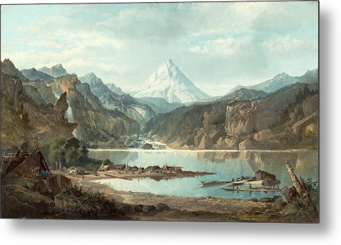Mountain Metal Print featuring the painting Mountain Landscape With Indians by John Mix Stanley