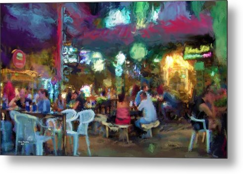 Cafe Metal Print featuring the digital art Night At The Cafe by Harry Dusenberg
