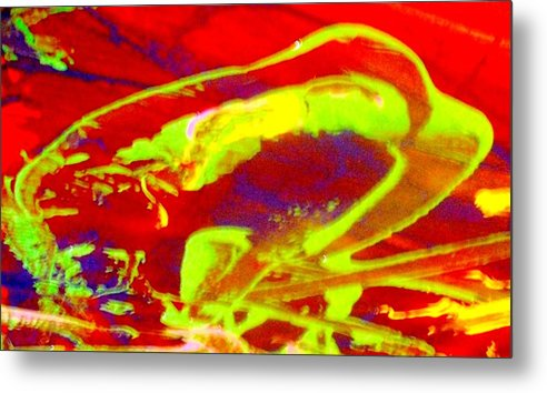Abstract Metal Print featuring the painting No One Kisses A Sleeping Frog by Bruce Combs - REACH BEYOND