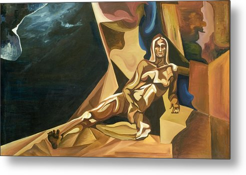 Abstract Metal Print featuring the painting Olympia by Michael Scherer