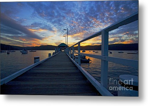 Palm Beach Sydney Wharf Sunset Dusk Water Pittwater Metal Print featuring the photograph Palm Beach Wharf At Dusk by Avalon Fine Art Photography