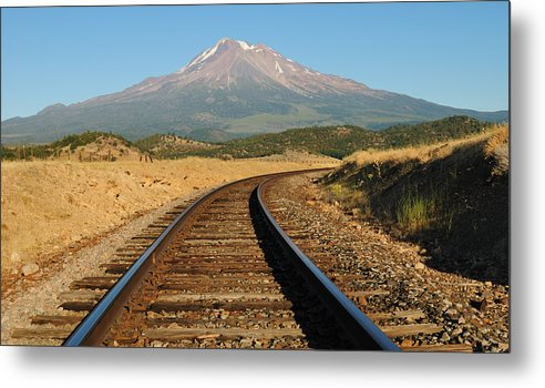 Loree Johnson Metal Print featuring the photograph Railroad To The Mountain by Loree Johnson