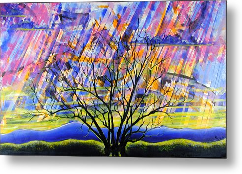 Sunset Metal Print featuring the painting Rays Of Life by Rollin Kocsis