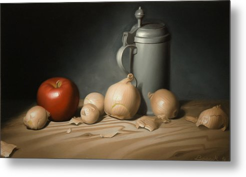 Still Life Painting Metal Print featuring the painting Still Life Painting With Onions by Eric Bossik