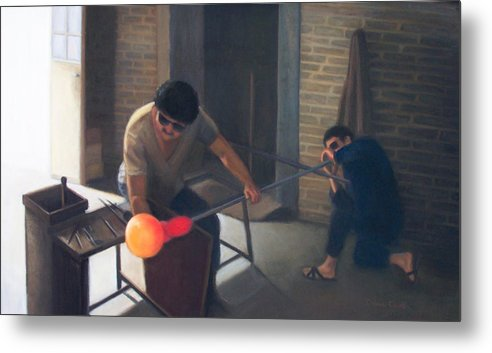 Glassblowers Metal Print featuring the painting The Glassblowers by Diane Caudle