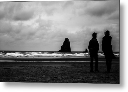 Black And White Metal Print featuring the photograph The Talk by Kelly Hayner