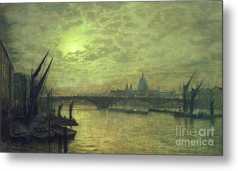 The Metal Print featuring the painting The Thames By Moonlight With Southwark Bridge by John Atkinson Grimshaw