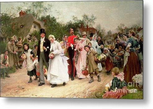 Portrait; Group Metal Print featuring the painting The Village Wedding by Sir Samuel Luke Fildes