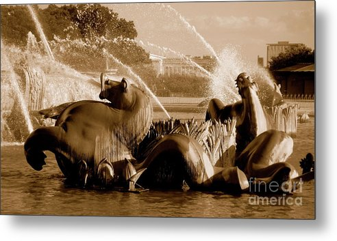 Fountain Metal Print featuring the photograph Urban Seahorse by Amy Strong