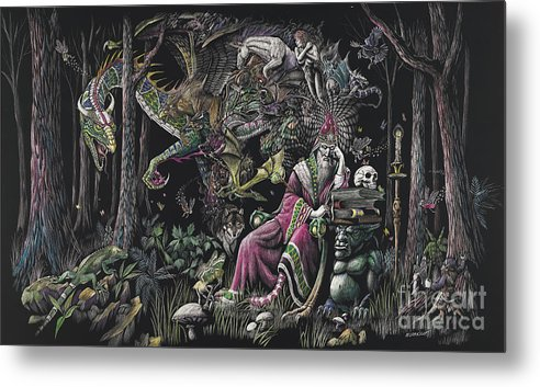 Dragon Metal Print featuring the drawing When Wizards Dream by Stanley Morrison