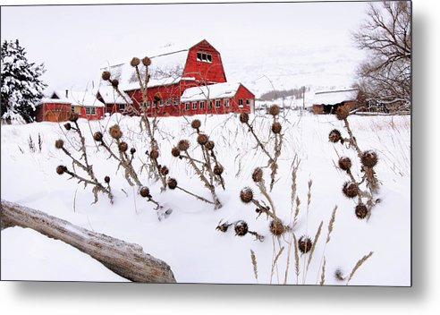 Winter Metal Print featuring the photograph Winter Barn 2 by David Kocherhans