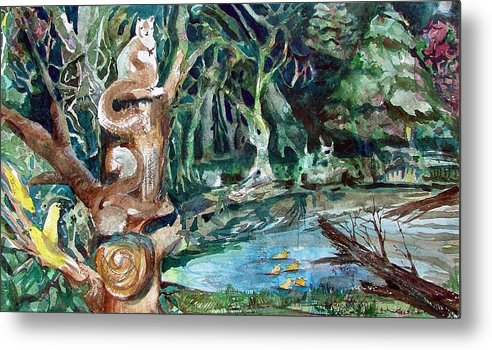 Squirrels Metal Print featuring the painting Woodland Critters by Mindy Newman
