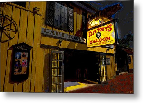Key West Metal Print featuring the mixed media Key West Captain Tony's by Jas Stem