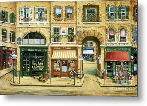 Wine Shop Metal Print featuring the painting Les Rues De Paris by Marilyn Dunlap