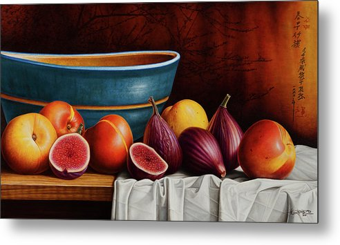 Fruit Metal Print featuring the painting Peaches And Figs by Horacio Cardozo