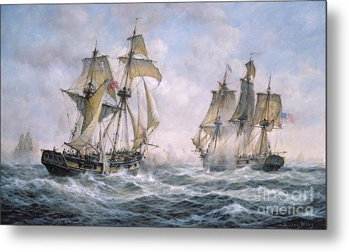 Seascape; Ships; Sail; Sailing; Ship; War; Battle; Battling; United States; Wasp; Brig Of War; Frolic; Sea; Water; Cloud; Clouds; Flag; Flags; Sloop; Action; Wave; Waves Metal Print featuring the painting Action Between U.s. Sloop-of-war 'wasp' And H.m. Brig-of-war 'frolic' by Richard Willis