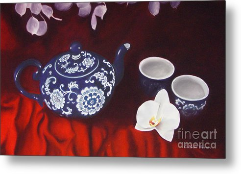 Still Life Metal Print featuring the painting All The Tea In China by Colleen Brown