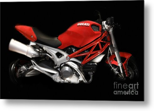 Motorcycles Metal Print featuring the photograph Ducati Monster In Red by Kimxa Stark