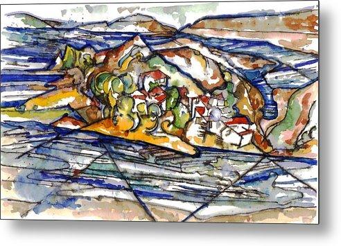 Lake Casitas Metal Print featuring the painting Lake Casitas I by Lily Hymen