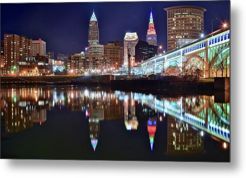 Cleveland Metal Print featuring the photograph Mood Lighting by Frozen in Time Fine Art Photography