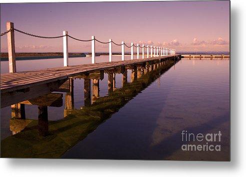 Narrabeen Sydney Sunrise Wharf Walkway Metal Print featuring the photograph Narrabeen Sunrise by Sheila Smart Fine Art Photography