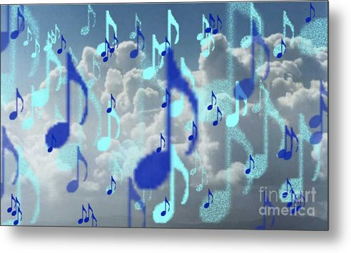 Metal Print featuring the digital art The Greater Clouds Of Witnesses We Love The Blues Too by Brenda L Spencer
