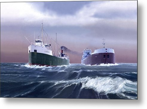 A.a. Hudson. Csl Niagara. Great Lakes Ships. Great Lakes Freighter Art. Marine Art. Canada Steamship Lines. Captain Bud Robinson. Metal Print featuring the painting A Sailors Log by Captain Bud Robinson