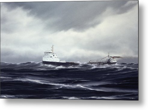 Mv Tadoussac. Lake Superior. November 10 Metal Print featuring the painting mv Tadoussac by Captain Bud Robinson