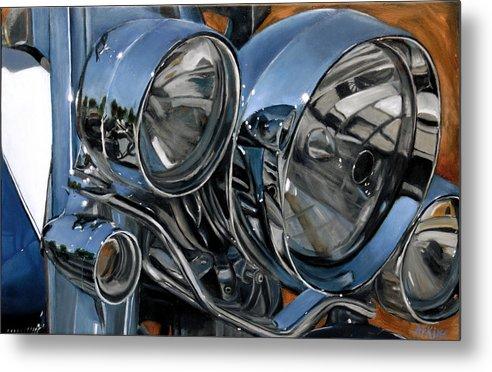 Motorcycle Metal Print featuring the painting Streetlights by Jack Atkins