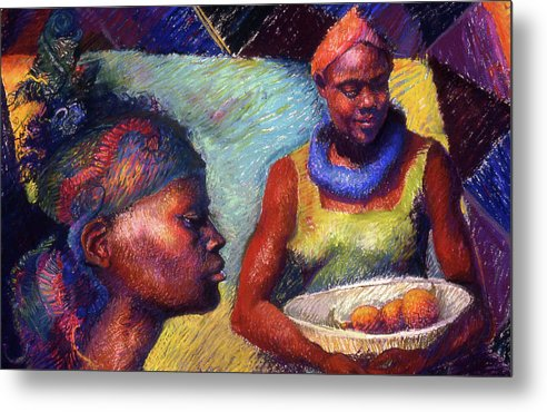 Caribbean Metal Print featuring the painting Caribbean Women With Oranges by Ellen Dreibelbis