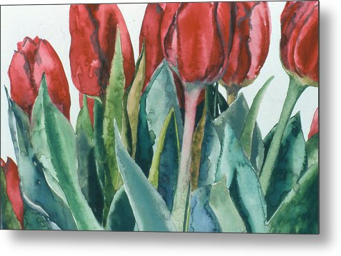 Floral Metal Print featuring the painting Mini-valentine Tulips - 2 by Caron Sloan Zuger